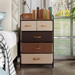 VIPEK Dresser Organizer with 5 Drawers Fabric Clothing Cube Storage Unit Tall