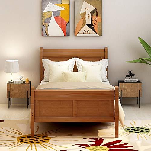 Wood Platform Bed TwinBed Frame Mattress Foundation Sleigh Bed