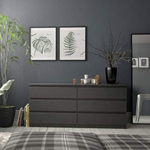 Home Square 3 Piece Bedroom Set with 6 Drawer Double Dresser and Two 2 Drawer Nightstands in Black Woodgrain