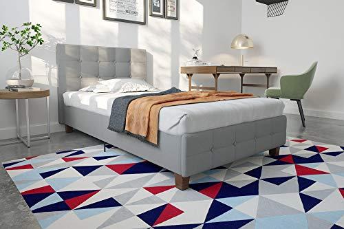 DHP Rose Linen Upholstered Platform Bed, Gray, Twin