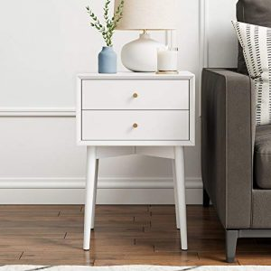Nathan James Harper Mid-Century Side Table 2-Drawer, Wood, White