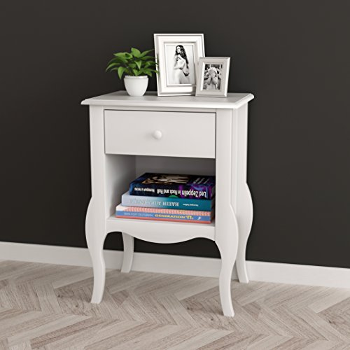 White Nightstand Side End Table Curved Legs with Drawer and Open Space