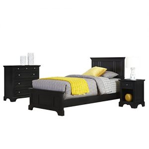 Home Styles Bedford Black Twin Bed, Nightstand, and Chest with Hardwood Construction, Four Drawer Chest, Felt-lined Chest Drawer, Nightstand Storage Drawer, and Brushed Nickel Hardware