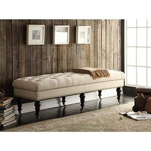 Linon Isabelle Bed Bench, 62-Inch, Dark Espresso Finish