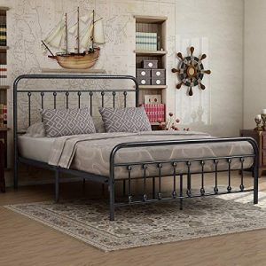Elegant Home Products Victorian Vintage Style Platform Metal Bed Frame Foundation Headboard Footboard Heavy Duty Steel Slabs Queen Size Silver/Gray Textured Charcoal Finish (Black/Silver, Queen)