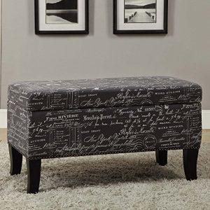 Linon Stephanie Script Linen Ottoman