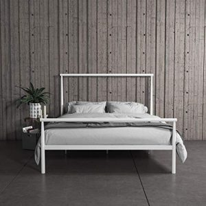 REALROOMS Calixa Modern Metal Platform Bed Frame, Industrial Minimalist Design with Headboard, Full, White