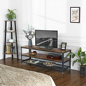VASAGLE BRYCE TV Stand, Lengthened TV Cabinet, Console, Coffee Table with Metal Frame, Wood-Like Grain, Industrial for Living Room, Rustic Brown ULTV50BX