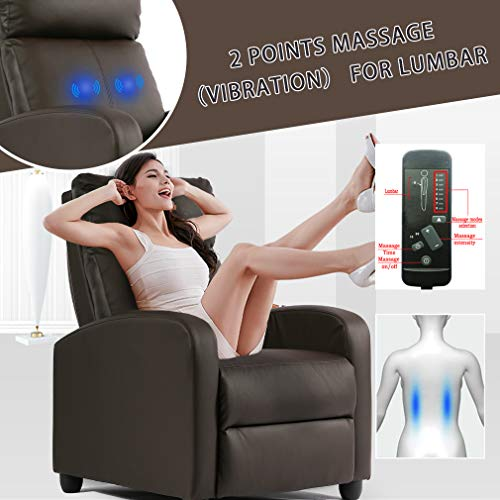 Recliner Chair for Living Room Massage Recliner Sofa Reading Chair Winback Single Recliner Chair for Living Room Massage Recliner Sofa Reading Chair Winback Single Sofa Home Theater Seating Modern Reclining Chair Easy Lounge with PU Leather Padded Seat Backrest (Brown)