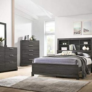 GTU Furniture Contemporary Bookcase headboard Bedroom Set