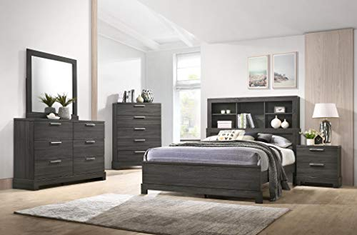 GTU Furniture Contemporary Bookcase headboard Bedroom Set