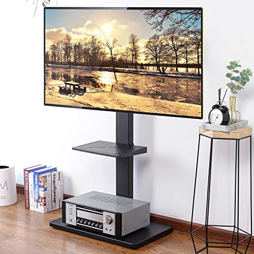 "Rfiver Universal Swivel Floor TV Stand for Most 32""-65"" LCD LED Flat/Curved Screen TVs, TV and Media Shelf Height Adjustable, Sturdy Wood TV Mount Stand with Internal Cable Management, Black TF1001"