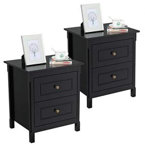 Yaheetech Bedside Table Nightstand with 2 Storage Drawers - End Side Tables Coffee Table for Bedroom, Set of 2