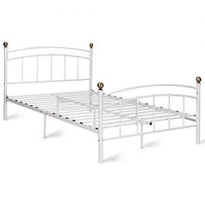 Giantex Metal Bed Frame Metal Platform Slat Support with Headboard