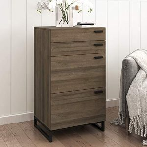 WLIVE 4 Drawer High Dresser, Drawer Chest, Storage Cabinet with Steel Legs