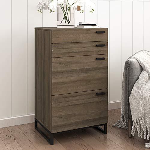 WLIVE 4 Drawer High Dresser, Drawer Chest, Storage Cabinet with Steel Legs