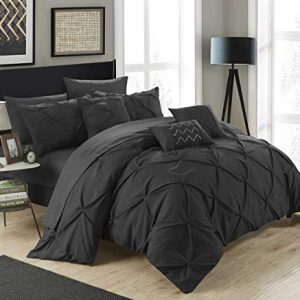 Chic Home 10 Piece Hannah Pinch Pleated, ruffled and pleated complete Queen Bed In a Bag Comforter Set Black With sheet set