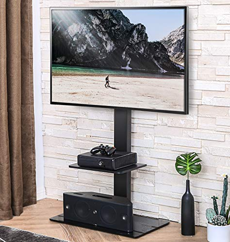 FITUEYES Swivel TV Stand with Mount for Most 32-65inch Plasma LCD LED Flat or Curved Screen TVs, TV Stands with Tempered Glass Base and Component Shelf for Media Storage TT207001MB