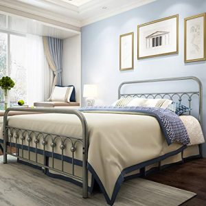 Metal Bed Frame Queen Size with Vintage Headboard and Footboard Platform Base