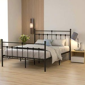 Metal Bed Frame Queen Size Platform No Box Spring Needed with Vintage Headboard and Footboard Premium Steel Slat Support Mattress Foundation Black