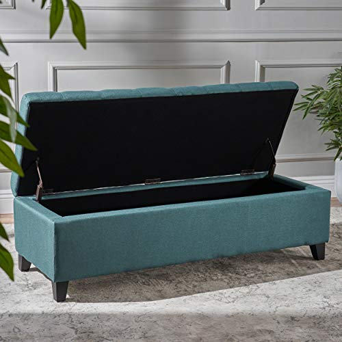 Christopher Knight Home Living Sterling Dark Teal Fabric Storage Ottoman