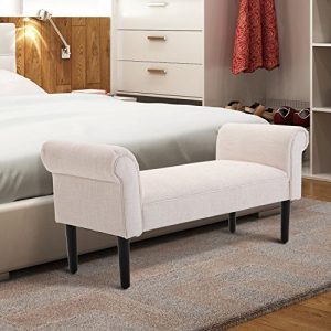 "HOMCOM 52"" Linen Upholstered Accent Ottoman Bench with Armrests, Cream White"