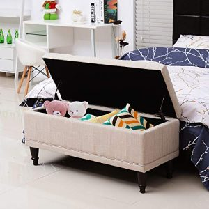 "HomCom Large 42"" Tufted Linen Fabric Ottoman Storage Bench"