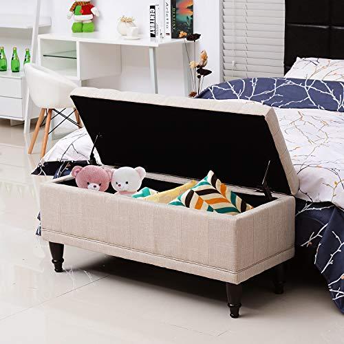 "HomCom Large 42"" Tufted Linen Fabric Ottoman Storage Bench"