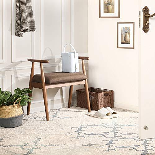 VASAGLE Shoe Bench, Upholstered Vanity Stool with Armrests