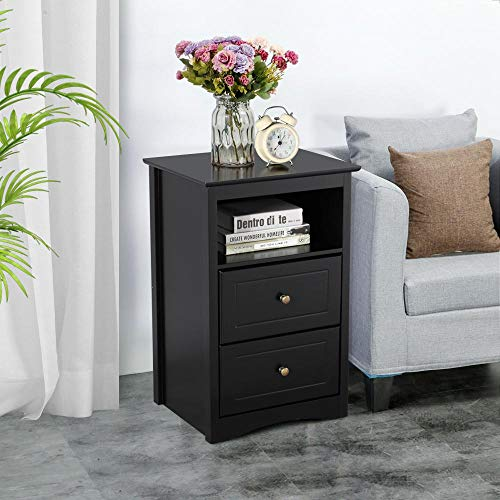 Yaheetech Tall Bedside Table with 2 Drawers Wooden Nightstand Bedside Storage