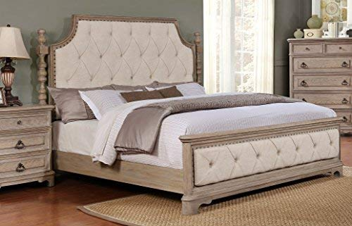 Roundhill Furniture Piraeus 296 Solid Wood Construction Bedroom Set with Queen size Bed, Dresser, Mirror and Night Stand,