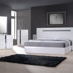 J&M Furniture Palermo White Lacquer With Chrome Accents Queen Size Bedroom Set