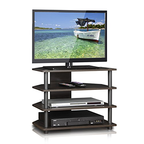 FURINNO Turn-N-Tube Easy Assembly 4-Tier Petite TV Stand, Espresso/Grey