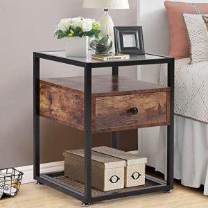 VECELO Nightstand, Tempered Glass End Table, Cabinet with Drawer and Rustic