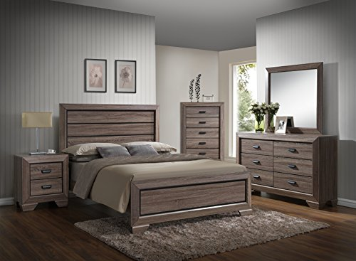 GTU Furniture Lyndon 5Pc Weathered Grey Panel Bedroom Set