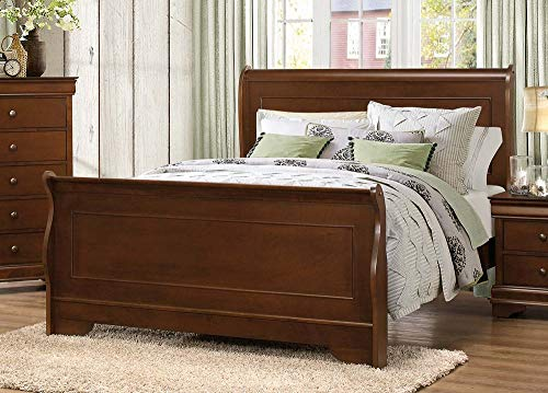 Homelegance Abbeville Queen Sleigh Bedframe, Cherry