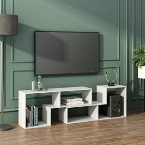 "DEVAISE TV Console Stand, Modern Entertainment Center Media Stand, Storage Bookcase Shelf for Living Room, 0.59"" Thick, White"