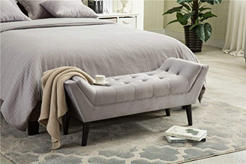 Andeworld Tufted Bed Bench Fabric Ottoman Footstools for Bed Room (Large, Gray)
