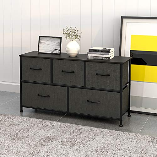 WLIVE Dresser with 5 Drawers, Fabric Storage Tower, Organizer Unit for Bedroom
