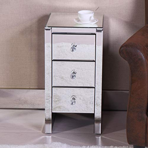 Modern Hollywood Regency Glamour Style Mirrored 3-Drawer Nightstand Bedside Table