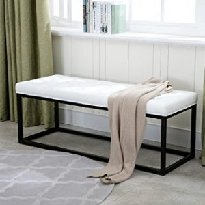 Porthos Home Marlena Accent Bench With Button Tufted PU Leather Upholstery