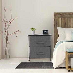 Sorbus Nightstand with 2 Drawers - Bedside Furniture & Night Stand End Table Dresser for Home, Bedroom Accessories, Office, College Dorm, Steel Frame, Wood Top, Easy Pull Fabric Bins (Black/Charcoal)