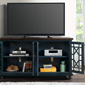 "Martin Svensson Home Palisades TV Stand, 63"" W x 35"" H, Catalina Blue with Coffee Top"