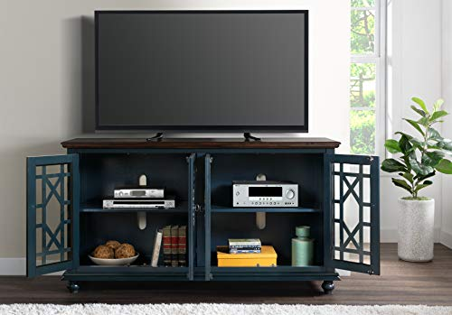 """Martin Svensson Home Palisades TV Stand, 63"""" W x 35"""" H, Catalina Blue with Coffee Top"""