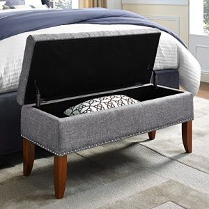 "Pulaski Hinged Top Button Tufted Bed Heathered Grey, 41.50"" W x 15.75"" D x 18.50"" H Upholstered Storage Bench,"