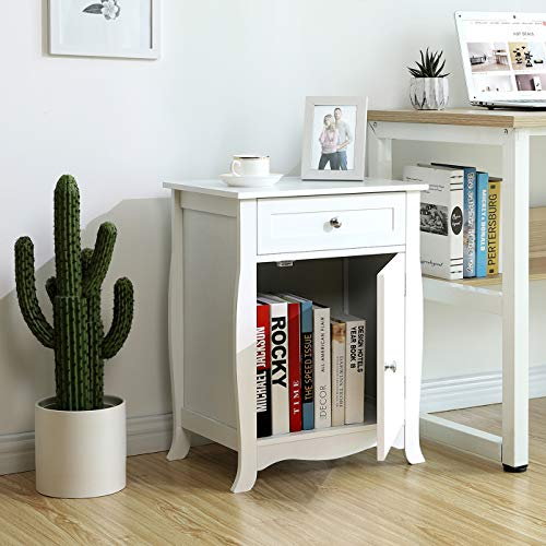 SONGMICS White Nightstand, End Table with Storage Cabinet and Drawer