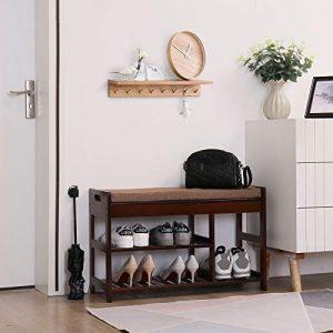 C&AHOME Shoe Rack Bench, Entryway 3-Tier Shoe Organizer, Max Load 260 LBS