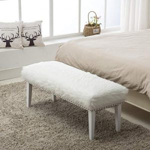 Yongchuang White Faux Fur Ottoman Bench for Bedroom/Entryway/Hallway