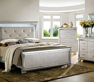 William's Home Furnishing Bellanova Bed, Silver