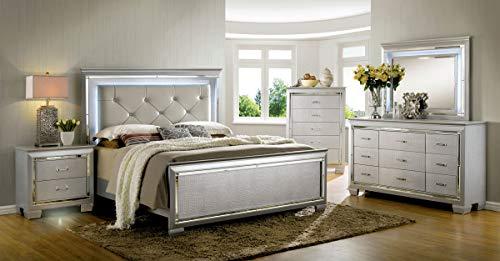William's Home Furnishing Bellanova Bed, Silver